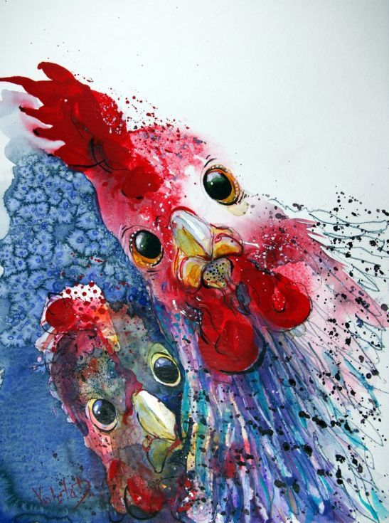 """ARTFINDER: Roasted Chicken with Potatoes?!! by Violeta Damjanovic-Behrendt - This is a funny watercolor painting of two scared chicken faces, wondering what's for dinner.  """"Roasted Chicken with Potatoes?!!"""" is painted on Hahnemühle 42..."""