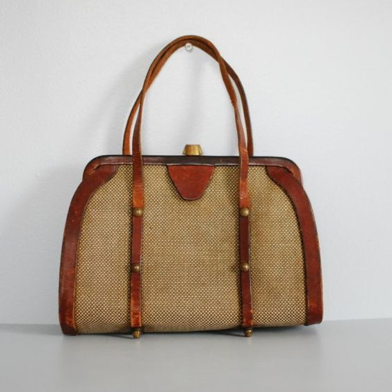 60's Joh Romain Purse- Leather and Tweed Fabric