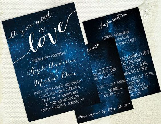 Diy printable wedding invitation galaxy stars space for Space themed stationery