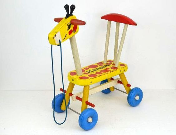Vintage Playskool Wooden Toy Giraffe