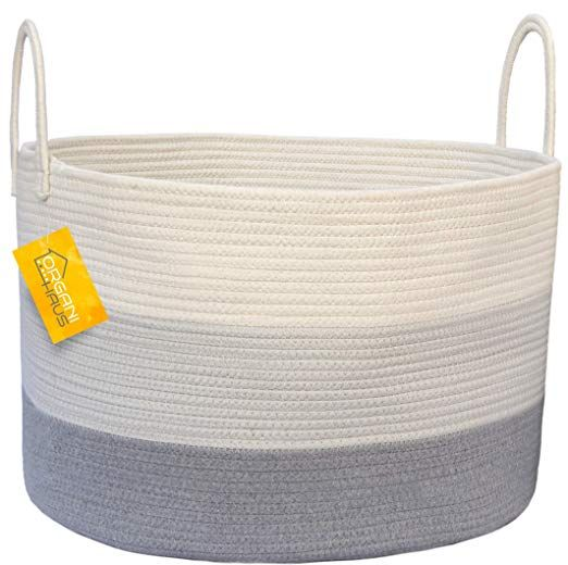 Amazon Com Organihaus Xxl Cotton Rope Basket Wide 20 X 13 3 Blanket Storage Basket With Long Handle Blanket Storage Basket Blanket Storage Storage Baskets