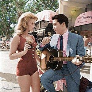 Ann-Margret wearing a one-piece vintage red bathing suit in 'Viva Las Vegas' 1964.
