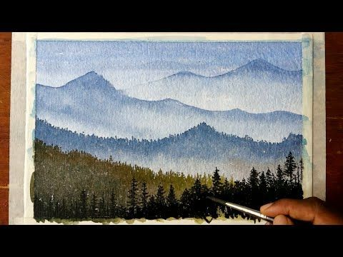 Mountain Sunset 2 By Varvara Harmon Watercolor Sunset