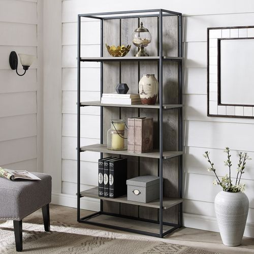 Gray Wash Wood Black Metal Bookshelf Metal Bookcase Farmhouse Bookcases Etagere Bookcase