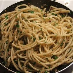 Olio e Alici:  Anchovy Spaghetti.  This recipe is similar to my Grandma's: extra thin spaghetti, anchovy, garlic, oil, parsley, pepper, and romano cheese.  Maybe the addition of bread crumbs makes it Sicilian???  Not sure, but it is yummy!