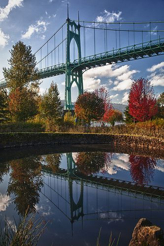 St Johns Bridge Reflection - Willamette River, Portland, Oregon