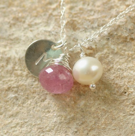 Pink sapphire necklace September birthstone by ILoveHoneyWillow, $46.00