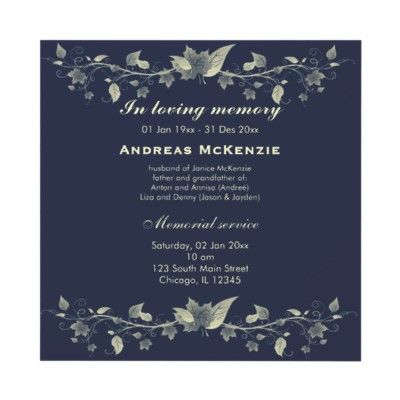 In memoriam announcement from for In memoriam cards template
