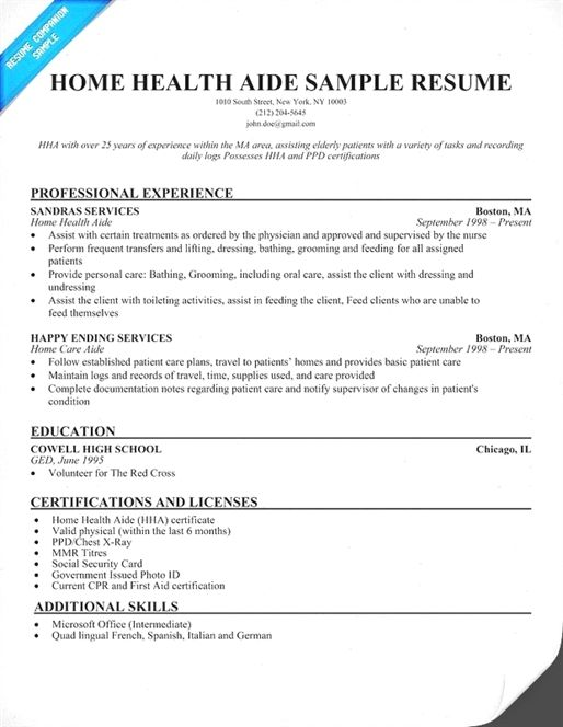 Resume Examples Home Health Aide Home Health Aide Home Health Services Home Health