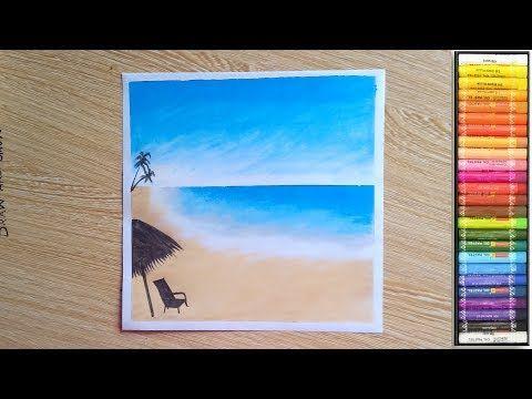 Simple Beach Scenery Drawing Easy Oil Pastel Drawing Youtube Oil Pastel Drawings Easy Oil Pastel Drawings Pastel Drawing
