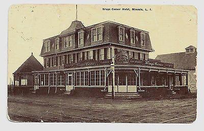 1915 Mineola Photo Postcard Of Krug S Hotel On The Northwest Corner