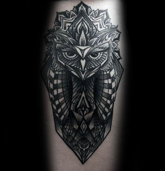 Pattern Mens Unique Geometric Owl Tattoo On Forearm Geometric Owl Tattoo Geometric Owl Geometric Flower Tattoo