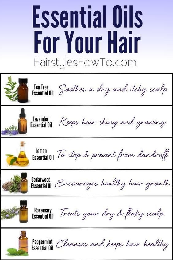 We put together a chart using our favorite essential oils and the benefits they have on your hair and scalp. Tea Tree Essential Oil – Soothes a dry and itchy scalp Lavender Essential Oil – Keeps hair
