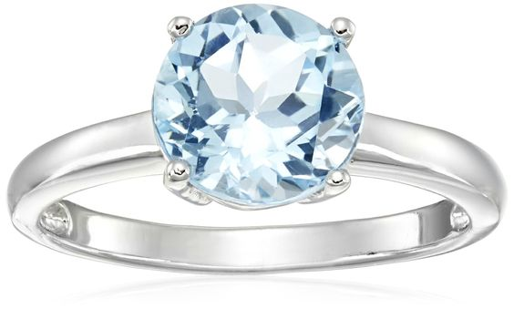 Blue Topaz Solitaire Ring in Sterling Silver (8mm), Size 7
