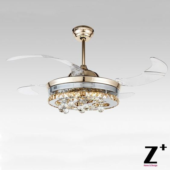 """424.99$  Buy now - http://alizyq.worldwells.pw/go.php?t=32437610190 - """"American modern Style Led lights 4 Collapsible fan Crystal Chandelier Remote Control Polished Gold 42""""""""  free shipping"""" 424.99$"""