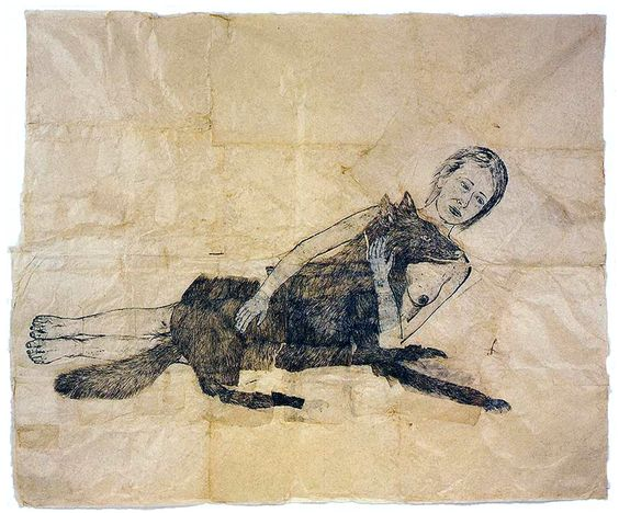 Smarthistory article on Kiki Smith, Lying with the Wolf, 2001, ink and pencil on paper 88 x 73 inches © Kiki Smith