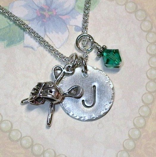 Lacrosse Initial Charm Dangle Hand Stamped by DolphinMoonCreations, $29.00