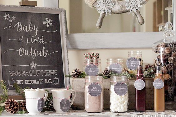 "FREE Hot Chocolate Bar Printable I Upcycled Treasures ""Baby It's Cold Outside"" Hot Beverage Bar Station for weddings or holiday parties"