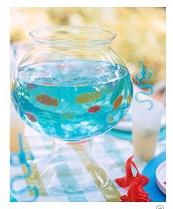 Marvelously Messy: Ocean Themed Birthday Snacks and A Marvelous Mess Party!!!!1 two-liter bottle lemon-lime soda, flat   4 1/4-ounce packages unflavored gelatin   2 drops blue food coloring   2 ounces gummy fish