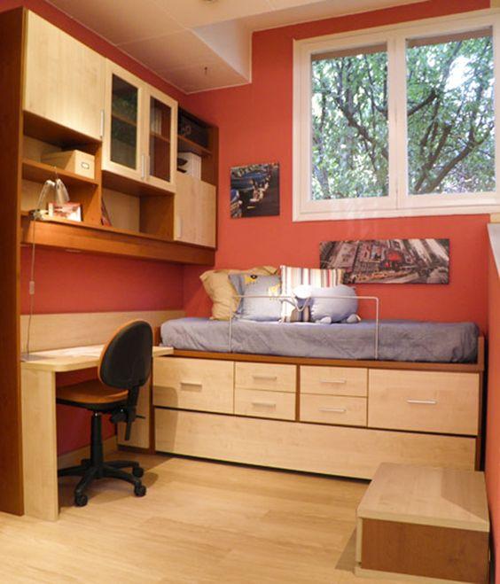 R243 juvenil compacto de cama nido con cajones armario for Dormitorios juveniles a medida