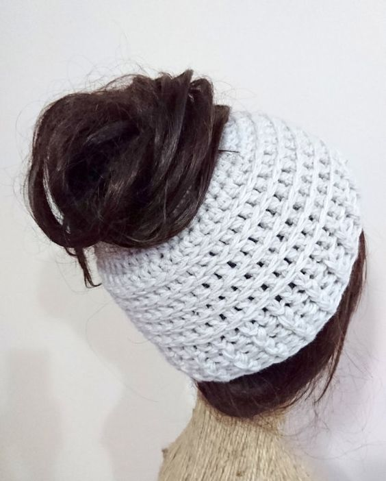 Crochet Messy Bun Hat : Messy bun hat, crochet messy bun beanie, bun hat, bun beanie, ready to ...