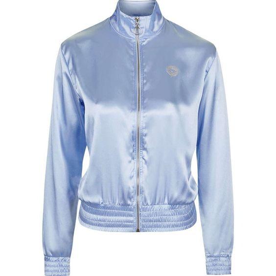 Satin Bomber Jacket by Illustrated People (€76) found on Polyvore featuring women's fashion, outerwear, jackets, blue, bomber jacket, coats & jackets, topshop, blouson jacket, long sleeve jacket and satin bomber jacket: