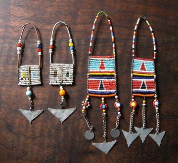 *Maasai Masai women's upper ear beaded old worn jewelry*