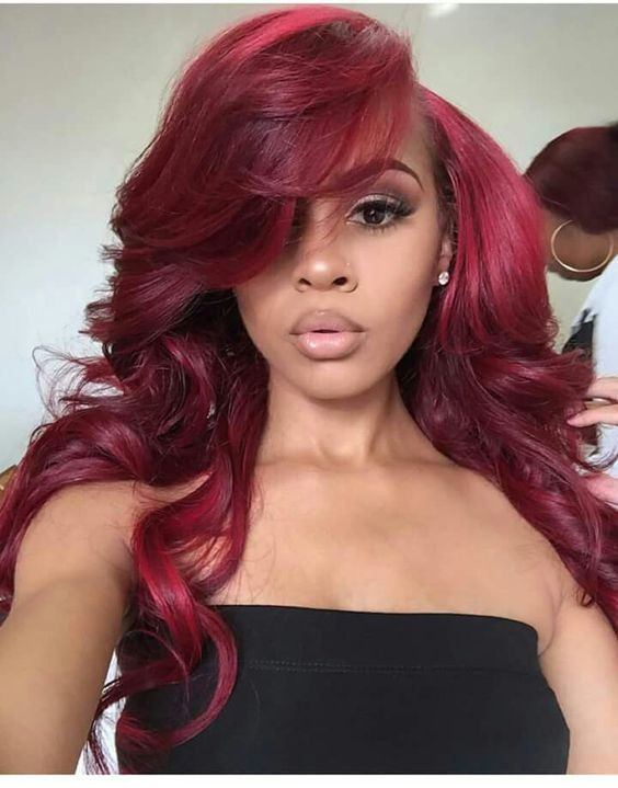 Burgundy Color Lace Front Human Hair Wigs For Black Women Full