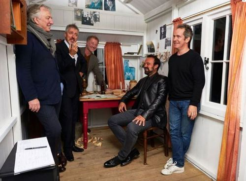 Alan Rickman at the Dylan Thomas Festival  Alan Rickman with Griff Rhys Jones, Owen Teale, Evgeny Lebedev and Tom Hollander in the replica of Dylan Thomas's writing shed in London - October 21, 2014 marking the beginning of the Dylan Thomas Festival in Fitzrovia, London, England