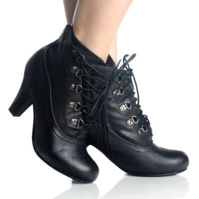 Black Lace Up Ankle Boots Oxford Booties Steam Punk Womens High Heels Size 10