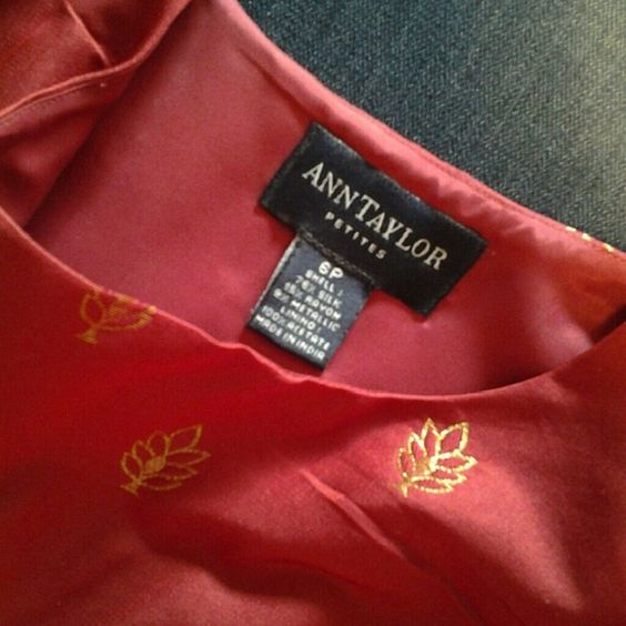 Ann Taylor Red Silk & Gold Special Occasion Top This top is a lovely hue of red. Gold thread adorns the front and back. Zipper is placed on the side allowing for continual design flow front and back. Bra straps are secured with snaps. Ann Taylor Tops Camisoles