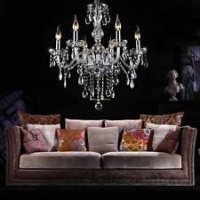 Modern Romantic Crystal Chandelier Ceiling 6 Light Lamp Pendant Fixture Lighting