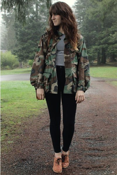 """Army Green Jackets, Tawny Jeffrey Campbell Shoes, Black BDG Pants 