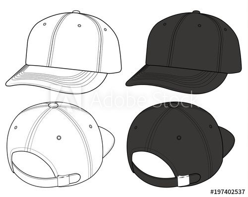 Basic Ball Cap Vector Illustration Flat Sketches Template Cap Drawing Fashion Design Template Flat Drawings