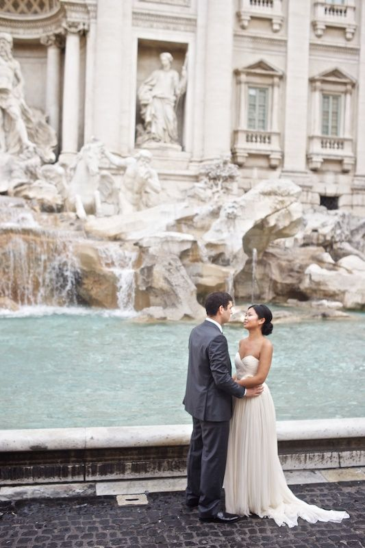 Wedding in front of the Trevi Fountain. Throw a coin for good luck!  http://rentinrome.com/wedding-rome.html