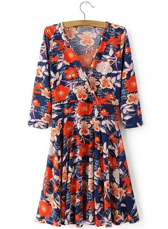 Women's Casual V Neck 3/4 Sleeve Floral Print Pullover Mini Dress.Check more from www.oasap.com .
