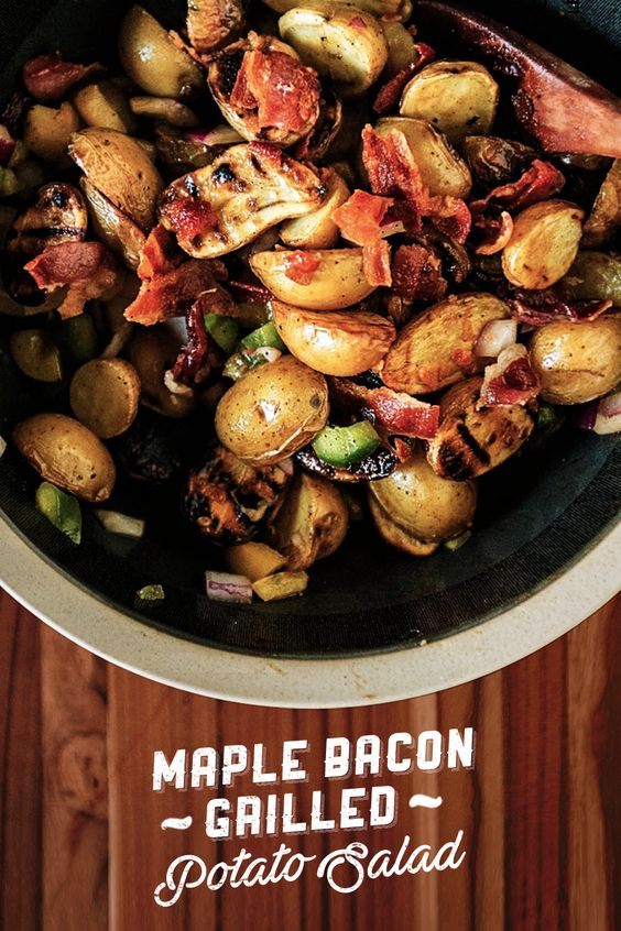Bacon isn't typically the first word that comes to mind when you're thinking about healthy meal plans, but this Bacon Maple Grilled Potato Salad recipe is far from typical. By eliminating mayo, using a lighter dressing, and grilling the potatoes, @passthesushi has upgraded this classic side dish without sacrificing any of the flavor. Click to get this bold fall recipe. | Char-Broil