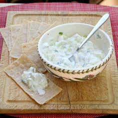 Tzatziki (Greek Cucumber-Yogurt Dip)  1/2 a large cucumber, peeled and chopped  1 6-oz container plain Greek yogurt  1 tsp. white vinegar or lemon juice  1 tsp. mint flakes or za'atar  1 scallion (green part only), chopped  1/2 tsp. honey  Salt and pepper to taste    1. Mix all ingredients and serve chilled.