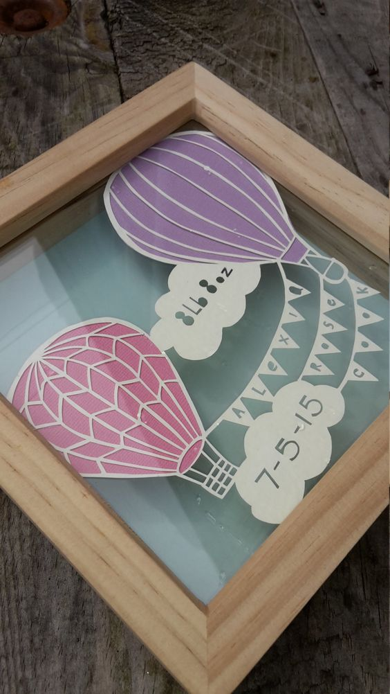 New baby papercut personalised with name, weight and date of birth. Hot air balloons, clouds and bunting. by AJCPaperCrafts on Etsy