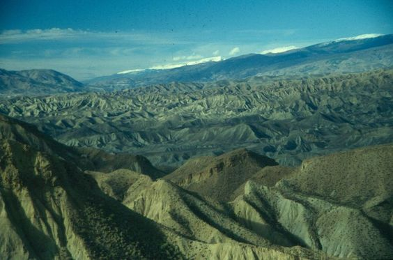 """Los """"BadLands"""" del desierto de Tabernas son un ejemplo de la aridez climática del Sudeste peninsular. JJMG:"""