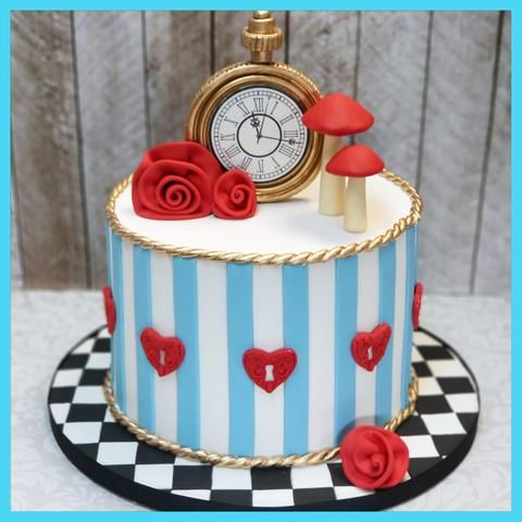 Peachy Alice In Wonderland Birthday Cake Iv Liv In One Derland With Personalised Birthday Cards Cominlily Jamesorg