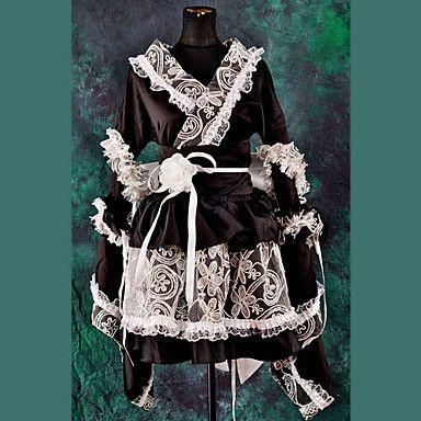 Japanese Style Long Sleeve Knee-length Black Satin Wa Lolita Kimono Outfit – USD $ 84.99