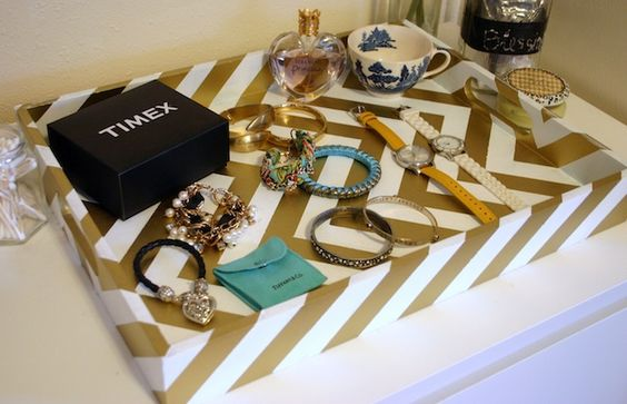 DIY chevron tray...line with velvet and use as a jewelry tray