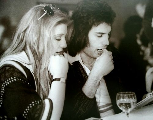 Freddie Mercury and Mary Austin;  for one horrifying second I thought Mary was Roger and almost had a heart attack