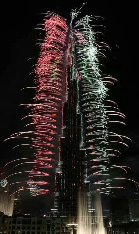 Burj Khalifa   New Year's fireworks   Dubai   UAE