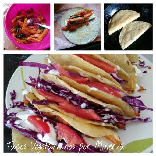 Taquitos vegetarianos, zanahoria, espinaca y pimiento rojo, con crema
