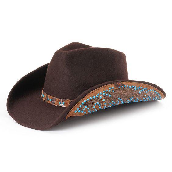 Women's Peter Grimm Amrit Wool Beaded Cowboy Hat, B