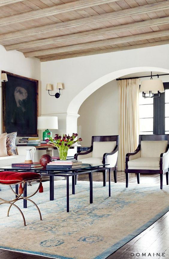 WHITE WASHED OAK CEILING -Before and After: Actress Sasha Alexander's European-Inspired L.A. Home | MyDomaine: