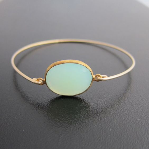 Blue Chalcedony Bracelet  Genuine  Bangle Gold by FrostedWillow