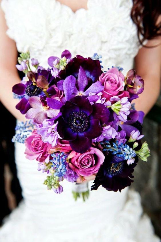 bouquet de mariée en rose, lilas, violet et pourpre